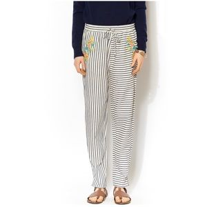 J.O.A. White Pinstripe Linen Pants With Flowers